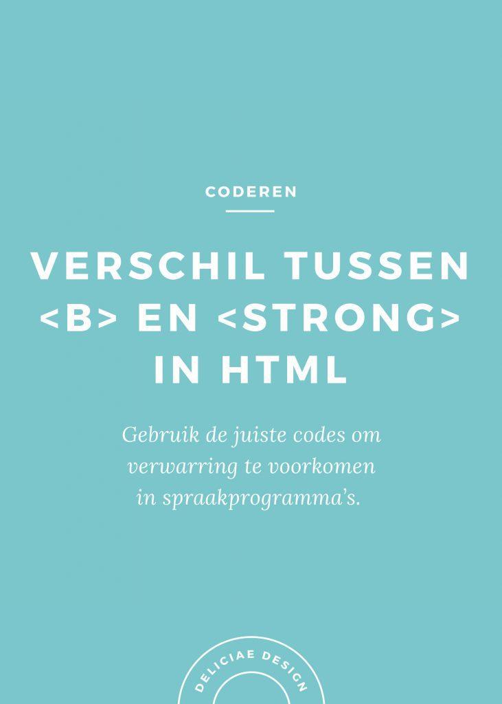 Verschil tussen <b> en <strong> in HTML