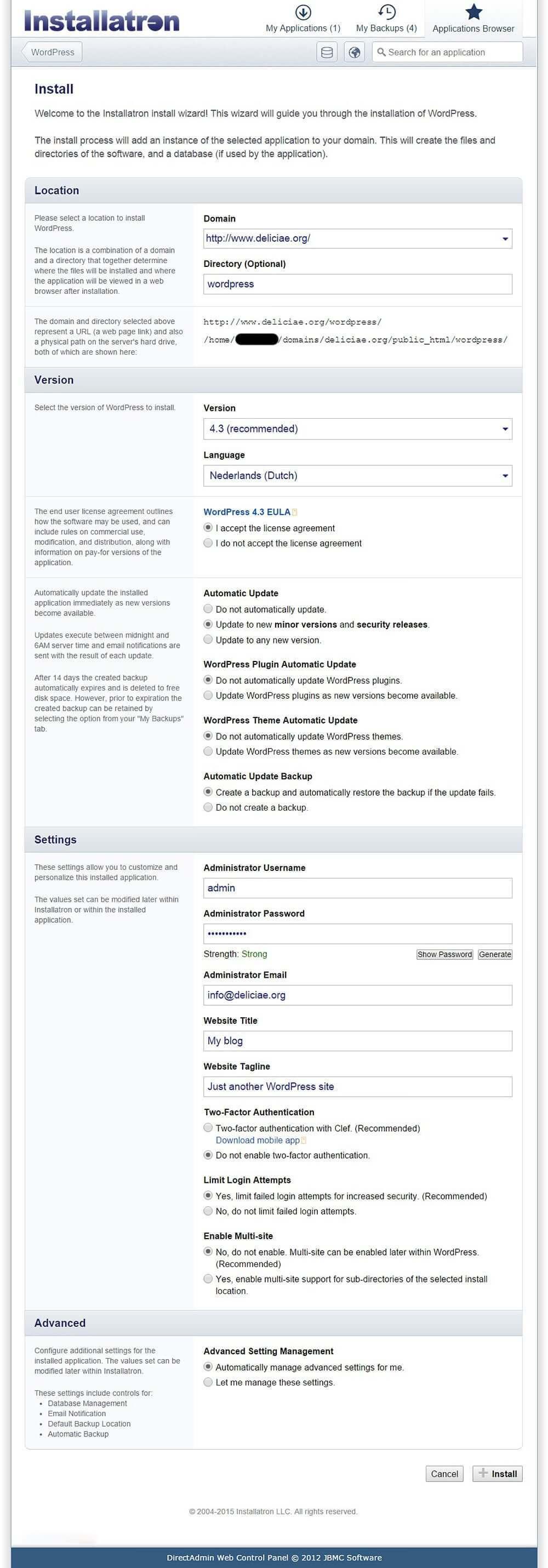 installatron-wordpress-install-steps