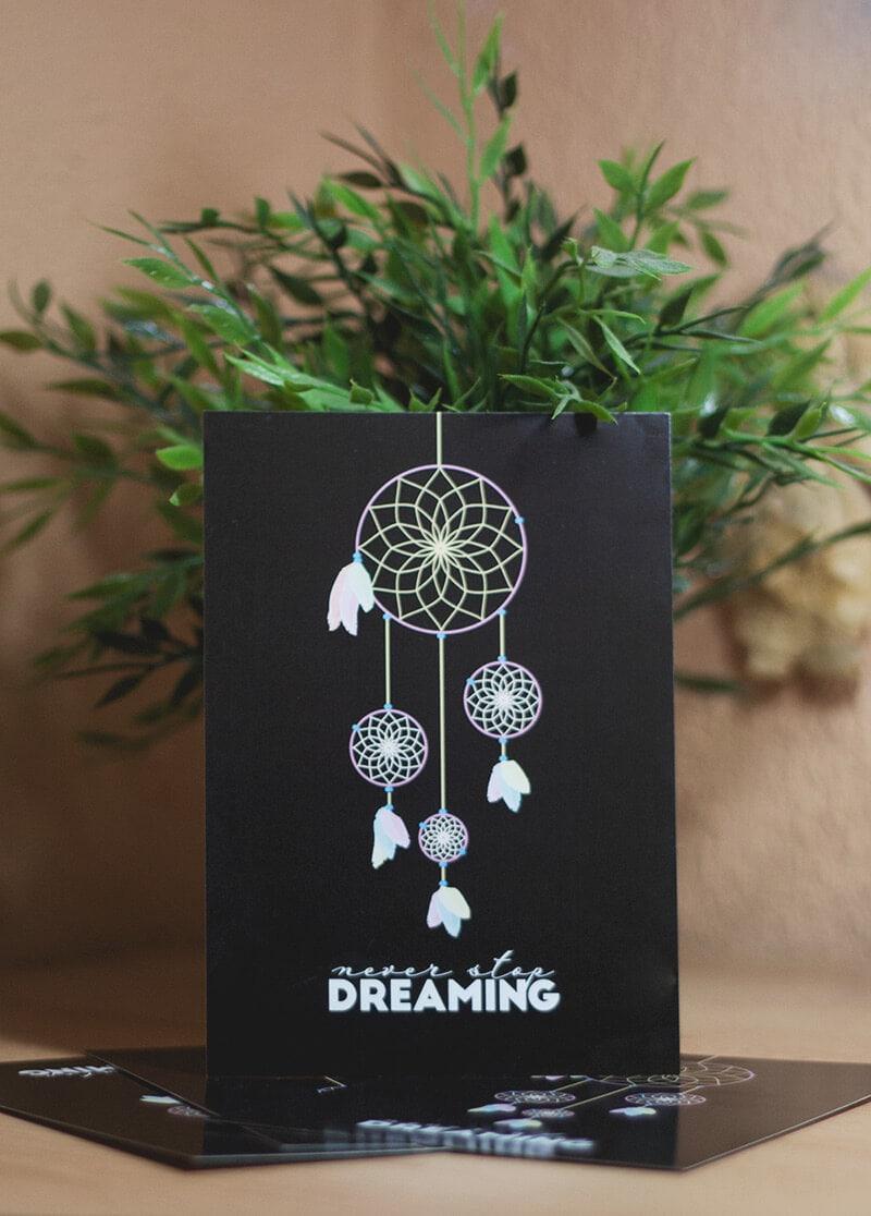 kaart-never-stop-dreaming